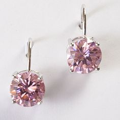 $15 Pink Cicular Cubic Zirconia Earrings Set in Silver