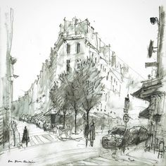 Sketching from one of the many great cafés on Rue Pierre Fontaine between Rue de Martyrs and the Boulevard de Clichy in the 9e arrondissement. #Drawing #Paris #sketchbook #sketch #urbansketchers #art #painting #graphite #pencil #pencildrawing