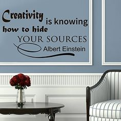 Wall Vinyl Decal Quote Sticker Home Decor Art Mural Creativity is knowing how to hide your sources Albert Einstein Z124 WisdomDecalHouse http://www.amazon.com/dp/B00MKXTLVE/ref=cm_sw_r_pi_dp_Qu15tb1ZPQPJ1