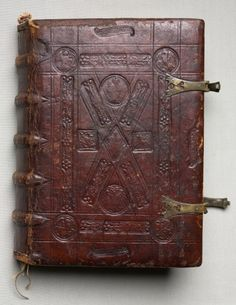 Metal clasps and blind tooling on a leather cover. This is a German gospel book with evangelist portraits, c. 1480. The Cleveland Museum of Art, Cleveland, OH. Image available for personal, non-commercial use.