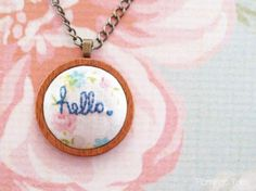 hello embroidery pendant- inspiration
