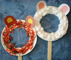 """Easy masks craft & link to """"Preschool Playbook"""" blog. Make for March - comes in like a lion or a lamb..."""
