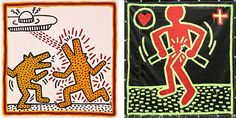 Keith Haring: The Political Line November 8, 2014 – February 16, 2015. L: Keith Haring, Untitled, 1982. Baked enamel on metal. Private collection; R: Keith Haring, Untitled, 1982. Vinyl ink on vinyl tarpaulin. Private collection. All Haring works © Keith Haring Foundation