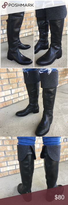 Talbots OTK leather convertible  boots Excellent condition, no scratches or other flaws. Tall boots can be worn folded over (shows the gray wool) or unfolded and worn over the knee. Genuine leather Talbots Shoes Over the Knee Boots