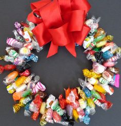Mixed Candy Wreath Gift Edible Centerpiece by CandyWreathsbyCarla