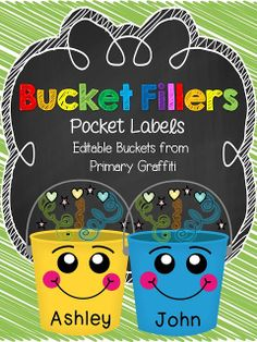 Bucket Fillers {Pocket Labels, Banner, and Notes)! Freebie Links Embedded too!!! - Primary Graffiti