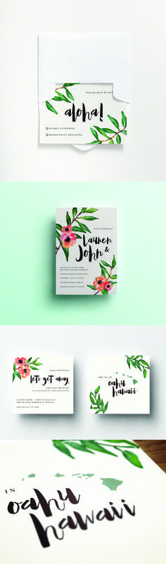 """Aloha"" Destination Wedding Invitation - Hawaii Wedding. 2-Piece Invitation & RSVP Set with White Envelopes. Starting at 110.00 for 50.   watercolor, floral, design, stationary design"