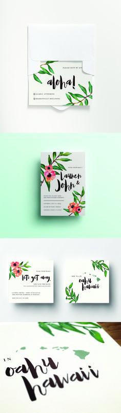 """Aloha"" Destination Wedding Invitation - Hawaii Wedding. 2-Piece Invitation & RSVP Set with White Envelopes. Starting at 110.00 for 50. watercolor, floral, design, stationary design"