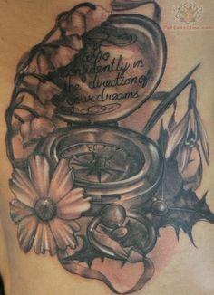 compass tattoos | Compass And Flower Tattoo
