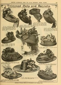 Fall and Winter, 1890-91 Fashion Catalogue  -  what I wouldn't give to live back in the time when wearing amazing hats what the style!