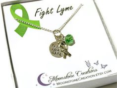 Fight like a GIRL necklace, Lyme Disease hand stamped awareness necklace Fight Lyme by Moonstone Creations. -This would mean so much to me, to wear in NY and 24/7 #Etsy