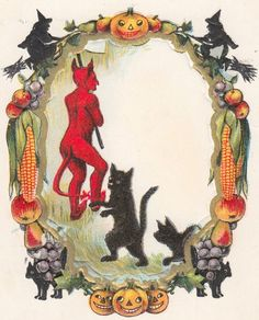 Antique Halloween Postcard 383 Devil With Black Cat JOL Vegetable Fruit Border  #Halloween