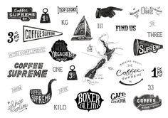 combination of images and text, they all relate to coffee shops, different shapes and typography. some of the shapes stand out for me and I might consider using some of these shapes to use for a visual display panel as the pronto display panel is rectangular its quite boring so I want to have a display panel that has a combination of image and text.