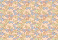 Migration Butterflies Peach Neighborhood Julia Rothman Pattern Design Art Folk Illustration Orange