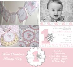 Winter ONEderland Pink Birthday Package by ThePartyPaperFairy, $54.00