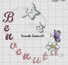 Butterfly Cross Stitch, Cross Stitch Baby, Cross Stitch Patterns, Easy Sewing Projects, New Baby Products, Needlework, Diy And Crafts, Alphabet, Kitty