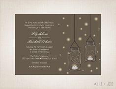 Mason Jar Wedding Invitation Tea lights fireflies by LilyandJude, $30.00