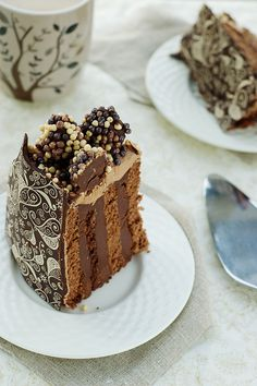 Marvelously artistic, deeply beautiful looking Spiced Chocolate and Earl Grey Tea Cake. #cake #decorated #fancy #dessert #food #chocolate #tea #party #wedding