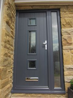 One of the first things about a house that a guest or home buyer notices is the front door. If you want to make a statement, upgrading or revamping your front door is a smart move that isn't all th… Front Door Porch, Porch Doors, Front Door Entrance, House Front Door, Glass Front Door, Entry Doors, Front Entry, Grey Composite Front Door, Grey Front Doors
