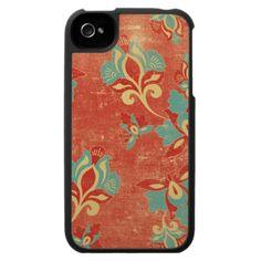 iPhone 4 Case Personalized Vintage Orange Floral