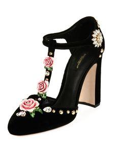 6138fd9d7948 Dolce & Gabbana Velvet Embellished T-Strap Pump Lit Shoes, T Strap  Sandals