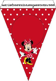 minnie red black yellow and polka dots free party printables printable bunting Minnie Mouse Birthday Invitations, Superhero Birthday Party, Mickey Mouse Birthday, Scrapbook Da Disney, Eid Stickers, Dots Free, Red Minnie Mouse, Mickey Party, Mickey And Friends