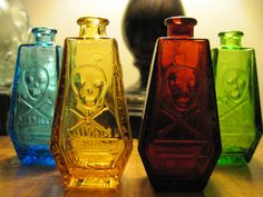 Pirate poison bottles. I'd like to drop an LED in there & light 'em up! Arrrrgh, pirate party, matey!: http://www.flashingblinkylights.com/themes/pirates.html