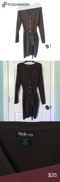 Dark brown Style & co Sweater NWOT New without tags. This is a long dark brown Style and Co sweater. This sweater is perfect for the fall! This sweater is both gorgeous and in great condition! Never worn! Style & Co Sweaters Cardigans
