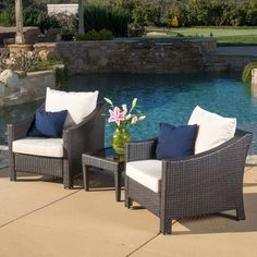 Antibes Outdoor 3-piece Wicker Bistro Set with Cushions by Christopher Knight Home