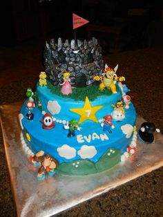 Bowser Castle Cake Super Mario Themed Birthday Party Bowser - Bowser birthday cake