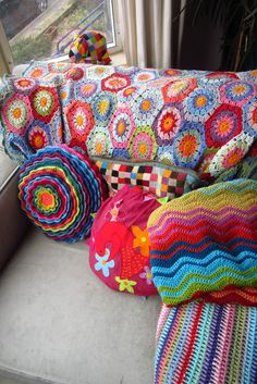 Afghan from the Attic24 blog, which I'm slowly duplicating. LOVE her colorful life!