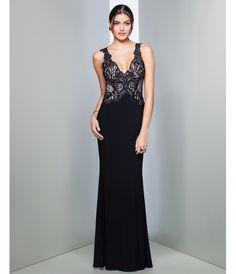 Preorder - Mignon HY1327 Black Lace Sheer Back Dress Fall 2015 $298.00 AT vintagedancer.com