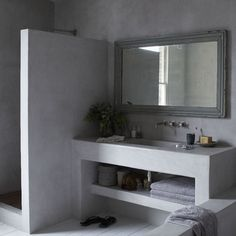 we can also find the existence of concrete bathroom, which includes concrete floor as well as concrete sink. Check out our collection of 28 Best Concrete Bathroom Design Ideas. Bad Inspiration, Bathroom Inspiration, Bathroom Ideas, Bathroom Designs, Industrial Bathroom, Bathroom Interior, Concrete Bathroom, Concrete Shower, Concrete Sink