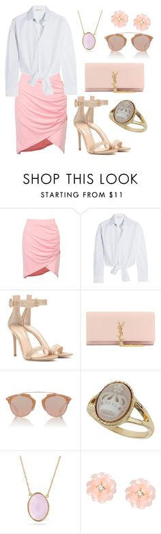 """""""White Shirt"""" by deloom on Polyvore featuring Maje, Gianvito Rossi, Yves Saint Laurent, Christian Dior, Miss Selfridge, Bling Jewelry and Dettagli"""