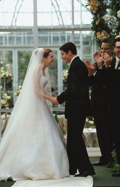 Years after their big prom night, Jim (Jason Biggs) and Michelle (Alyson Hannigan) tie the knot with all of their old friends there to celebrate. Photo courtesy of Universal