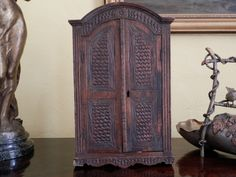 RARE Vintage Miniature Armoire. Hand Carved by AngelFrenchAntiques