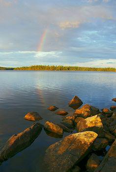 Rainbow over Big Lake north of Ely, Minnesota