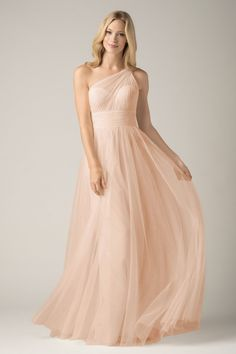 W.too Maids Dress (858i) in Nude   Soft and flowy, this bobbinet a-line dress has an illusion one-shoulder neckline and shirred bodice.