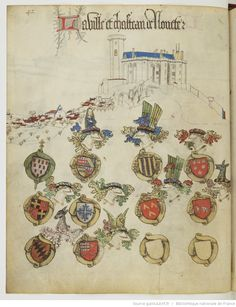 « Registre d'armes » ou armorial d'Auvergne, dédié par le hérault Guillaume REVEL au roi Charles VII.  Date d'édition :  1401-1500  Français 22297  Folio 42