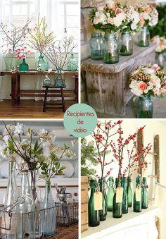 botellas de vidrio decorativas : via MIBLOG