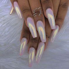 "If you're unfamiliar with nail trends and you hear the words ""coffin nails,"" what comes to mind? It's not nails with coffins drawn on them. It's long nails with a square tip, and the look has. Gorgeous Nails, Pretty Nails, Crome Nails, Gel Nails, Manicures, Matte Nails, Nail Polish, Nagellack Trends, Mermaid Nails"