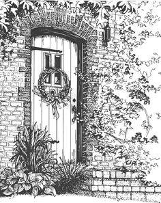 Architectural rendering done in pen and Ink on Crescent #300 illustration board. Artwork by Mary Palmer http://www.marypalmerartist.com) All Rights Reserved