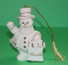 Lenox Snowman Ornament Figurine with Schaetzke printed on bag #babescollectibles
