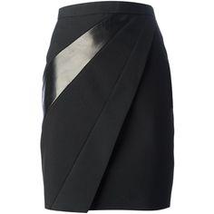 Saint Laurent Panelled Pencil Skirt ($1,590) ❤ liked on Polyvore featuring skirts, pencil skirt, bottoms, faldas, black, black straight skirt, high rise skirts, straight skirt and high waisted pencil skirt