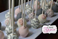 Chevron vintage pink cake pops
