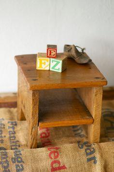 Vintage Wooden Stool Storage by MRCG on Etsy, $57.00