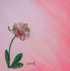 Wire Art on canvas: Detailed pink and silver wire orchid on a painted background by Sarah Jansma Wire Art, Various Artists, Orchids, Canvas Art, Butterfly, Detail, Silver, Pink, Blue