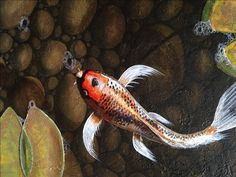 "Zen Koi Fish Painting ""A Time To Remember"" by Michael H. Prosper 12 x 24 canvas… Paintings I Love, Love Painting, Paintings For Sale, Painting & Drawing, Original Art, Original Paintings, Titanium White, Custom Paint, Me As A Girlfriend"
