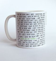 """""""I have no ideas and I hate everything / turns out I'm a genius."""" No mug has ever described the creative process as accurately as this one. $18 #gifts"""