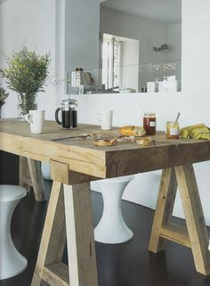 Our Dining Table (looks Similar To This): We Have Upcycled Our Marri Oak  Table, Taken The Gloss Off And Made The Top Raw Timber Look U0026 Created Pine  Tresle ...